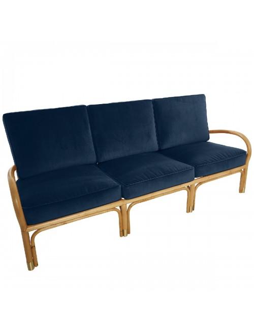 Canapé 3 pl Riviera velours bleu