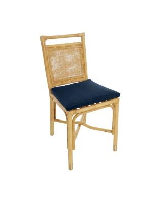 Chaise Riviera rotin et velours bleu