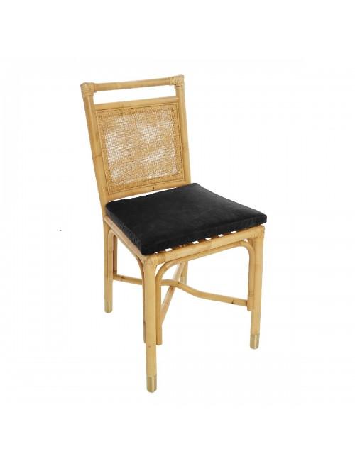 Riviera rattan dining chair brown velvet