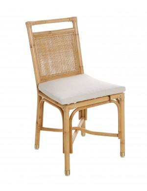 Chaise Riviera rotin et tissu lin