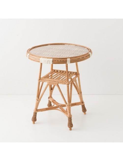 Table en osier Honorine verre diamètre 50