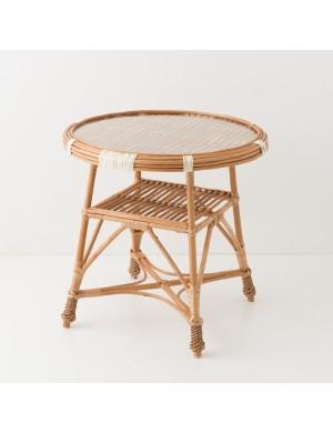 Table en osier Honorine verre diamètre 60