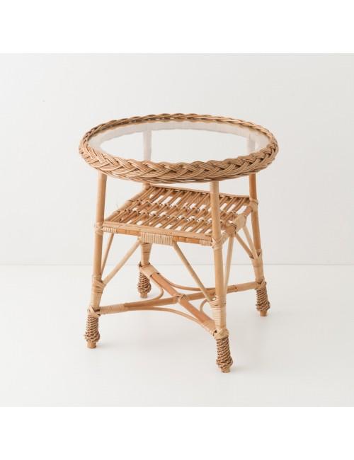Table en osier Colette verre 50 cm