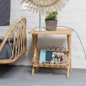 table de chevet en rotin et lloyd loom kok maison. Black Bedroom Furniture Sets. Home Design Ideas