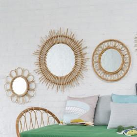 miroir rotin kok maison. Black Bedroom Furniture Sets. Home Design Ideas
